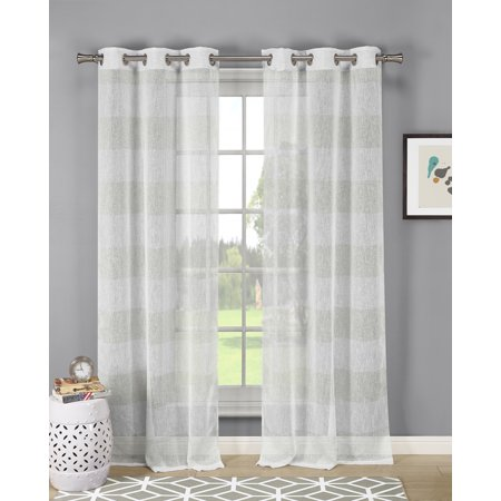 Dainty Home Lurex Stripe Extra Long Semi-Sheer Linen-Look Grommet Window Curtain Panel Pair in Champagne ()