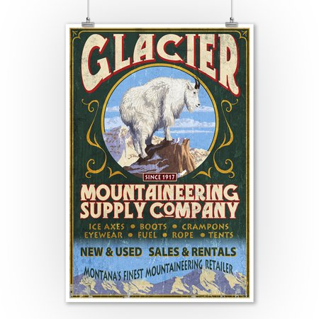 Glacier National Park, Montana - Mountain Goat Vintage Sign - Lantern Press Artwork (9x12 Art Print, Wall Decor Travel (Best National Parks In Montana)