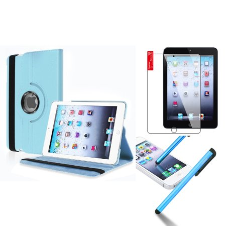 iPad Mini 3/2/1 Case, by Insten For Apple iPad Mini 3rd 3 2nd 1 1st Gen Rotating Leather Case Cover Stand Light Blue