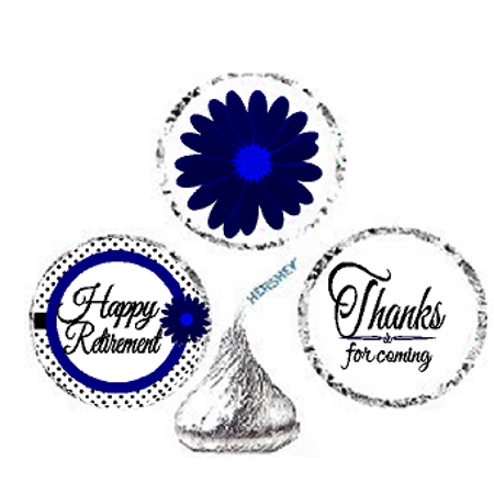 216ct Navy Happy Retirement Party Favor Hersheys Kisses Candy Decoration Stickers / Labels