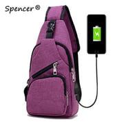 """Spencer Men Crossbody Chest Backpack Messenger Shoulder Sling Bag Daypack with USB Charging for Travel(6.3"""" * 2.7"""" * 12.6"""", Purple)"""