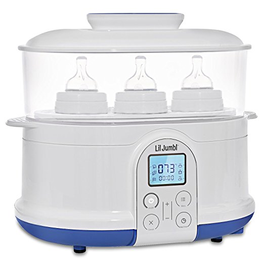 Lil' Jumbl 4-in-1 Bottle Sterilizer Warmer & Dryer w/ Food Steamer Function  Digital LCD Display with Custom Heat Settings