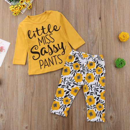 Baby Girl Clothes Outfit Toddler Long Sleeve Flowers Print Clothes Outfit Little Miss Long Sleeve T-Shirt Tops + Floral Pants Outfit Pant Set - Miss Santa Outfit
