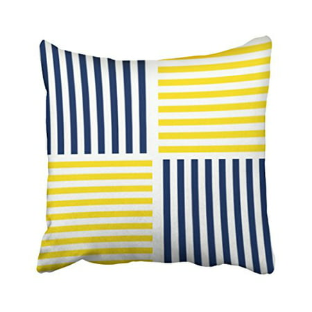 WinHome Square Throw Pillow Covers Yellow And Navy Blue Nautical Stripe Pillowcases Polyester 18 X 18 Inch With Hidden Zipper Home Sofa Cushion Decorative Pillowcase ()