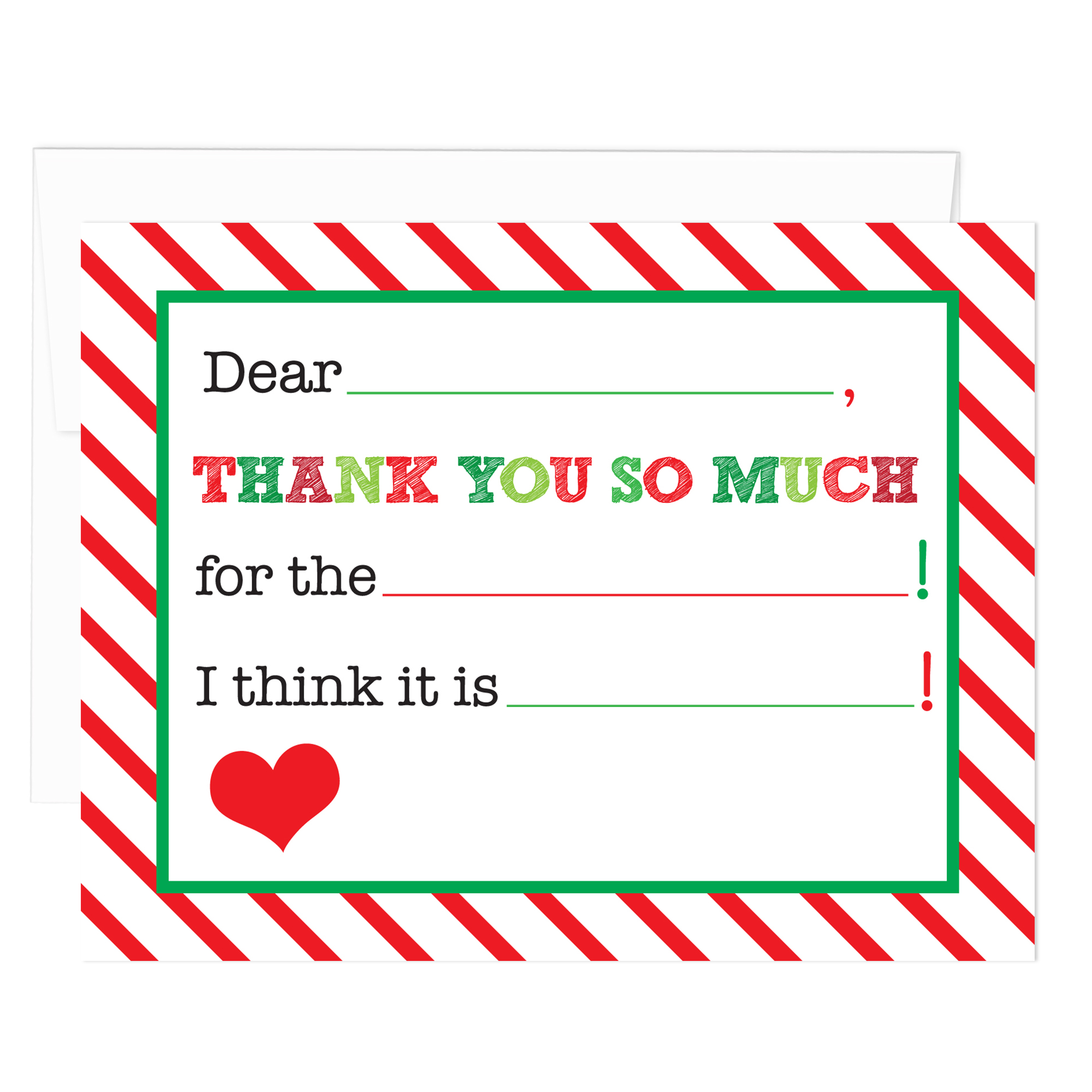 Candy Cane Stripe Christmas Fill-in Thank You Notes (Pack of 10)