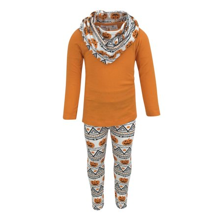 Unique Baby Girls 3 Piece Halloween Pumpkin Pattern Legging Set (4t)](Halloween Pattern)