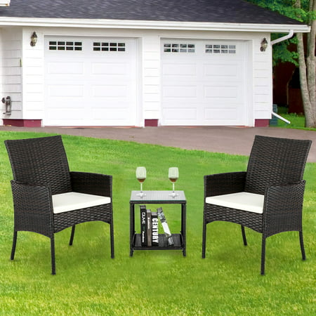 3 Pieces Outdoor Furniture, Sofa Wicker Conversation Set with Two Single Sofa, Removable Cushions, Tempered Glass Table, Patio Furniture Sets for Porch Poolside Backyard Garden, Q8943