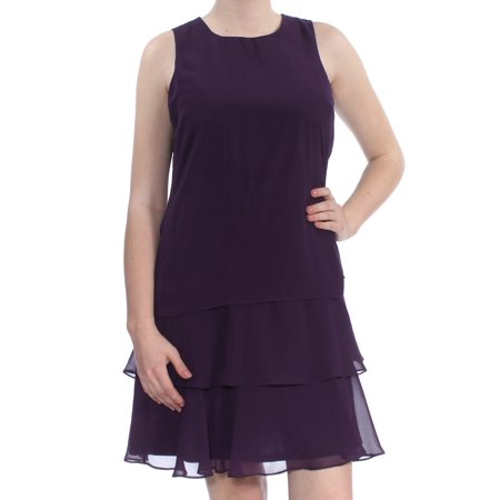 AMERICAN LIVING Womens Purple Ruffled Sleeveless Jewel Neck Above The Knee A-Line Cocktail Dress  Size: -