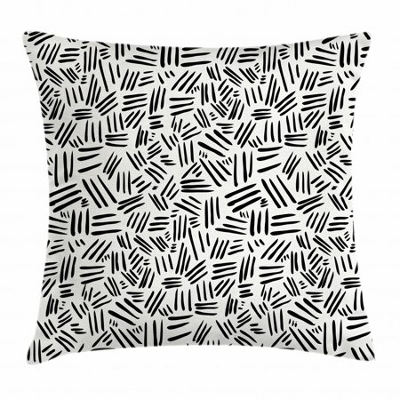 Ivory and Black Throw Pillow Cushion Cover, Random Stripes Pattern Hand Drawn Abstract Arrangement Simplistic Design, Decorative Square Accent Pillow Case, 16 X 16 Inches, Ivory Black, by Ambesonne