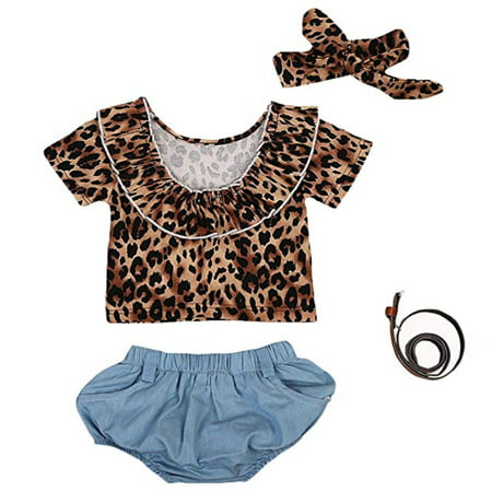 99750e59e5e1 Gaono - Toddler Baby Girls Short Sleeve Leopard Print Top+Blue Short with  Belt+Headband Clothes Set - Walmart.com