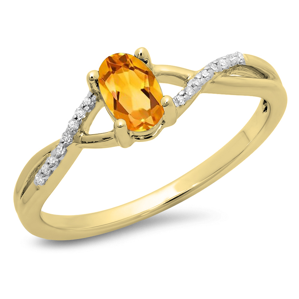 Dazzling Rock 0.50 Carat (ctw) 18K Yellow Gold Oval Cut Citrine & Round Cut White Diamond Ladies Bridal Swirl Split Shank Engagement P