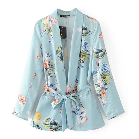 Women Floral Blazer Notched Collar Pockets Sashes Long Sleeve Coat Casual Outerwear