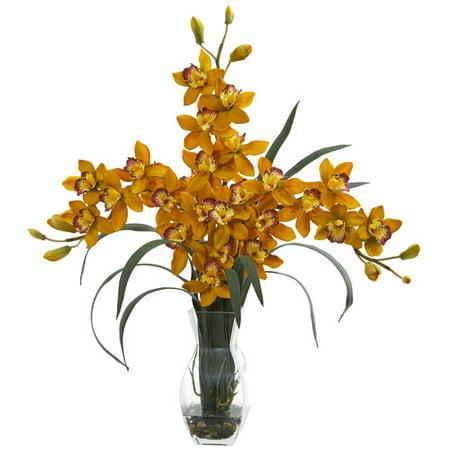 Triple Orchid Cymbidium In Vase Artificial Arrangement-YL