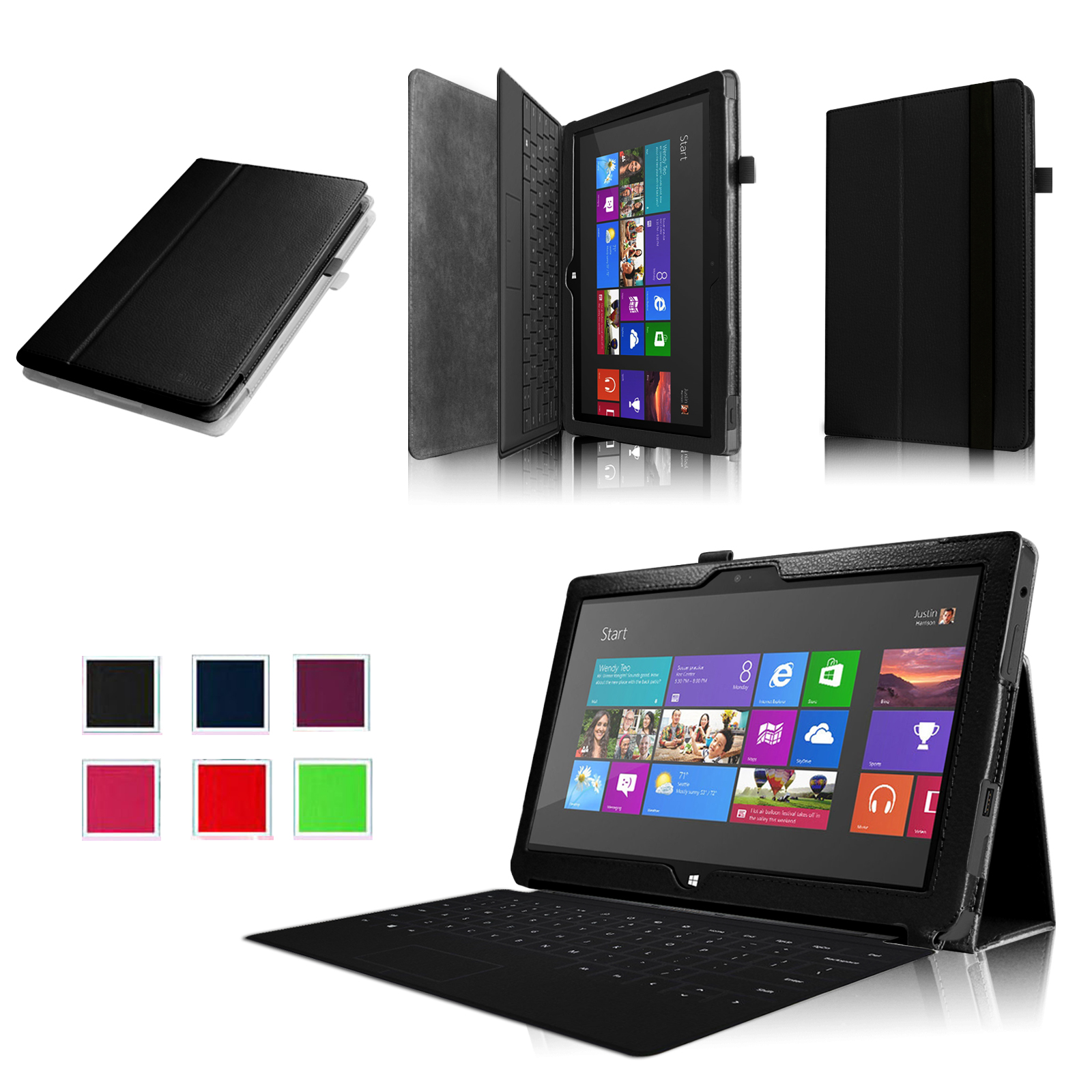 Fintie Microsoft Surface RT / Surface 2 10.6 inch Tablet Folio Case - Slim Fit PU Leather Stand Cover, Black