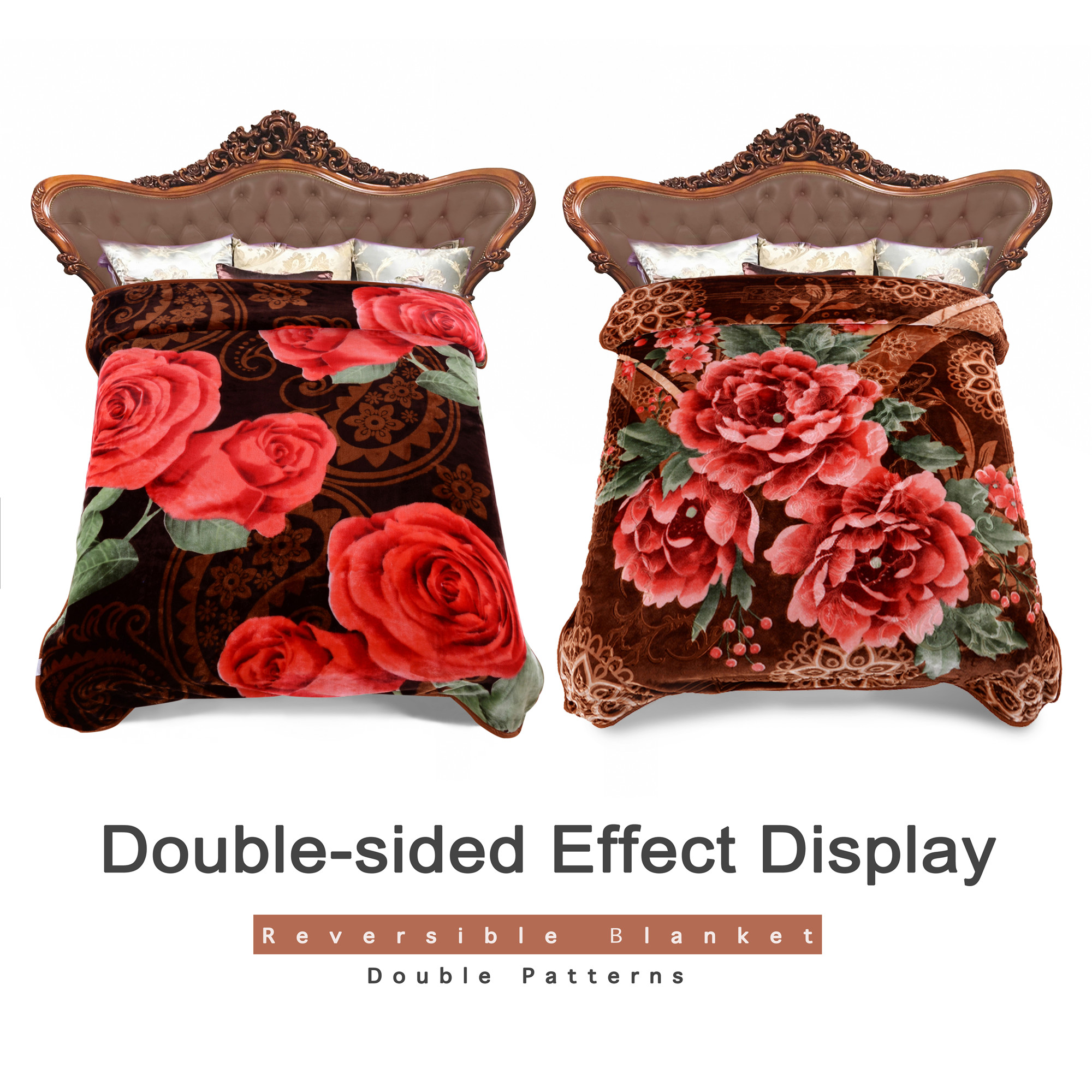 Korean Style Reversible Soft Warm Raschel Blanket Double Ply 2 Sides Roses Printed One... by JML