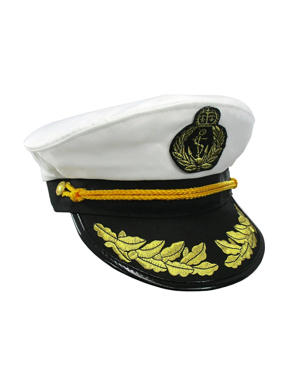 MA ONLINE Kids Captain Sailor Blue and White Hat Children Theme Parties Accessory Hat