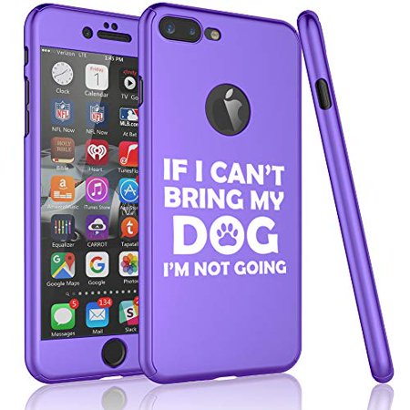 360° Full Body Thin Slim Hard Case Cover + Tempered Glass Screen Protector for Apple iPhone If I Can't Bring My Dog I'm Not Going Funny (Purple, for Apple iPhone 7 Plus / 8 Plus)](Go Plus)