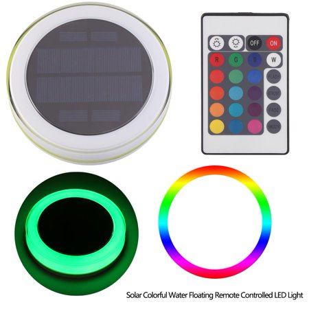 Greensen Solar Powered LED Pond Swimming Pool Floating Fountain Light with Remote Control, Colorful RGB Decoration Lamp - image 9 of 10