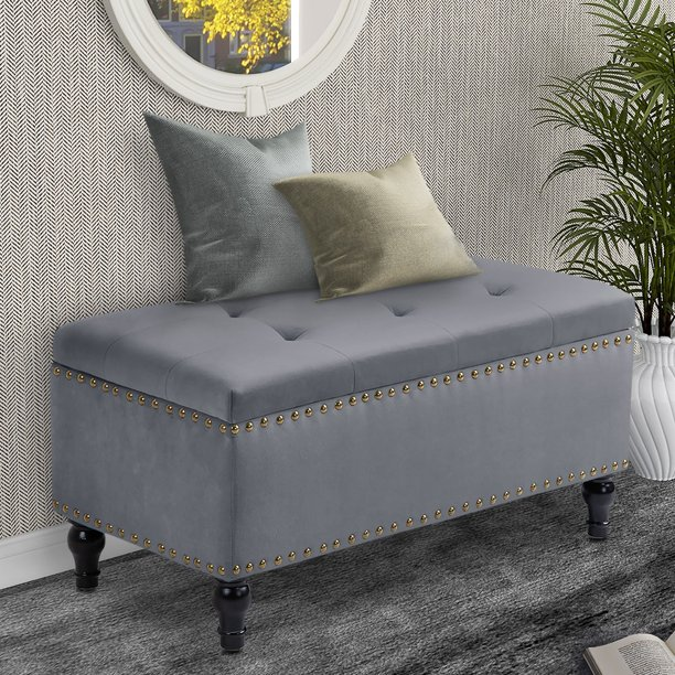 "Abble 38"" Velvet Upholstered Flip Top Storage Bench"