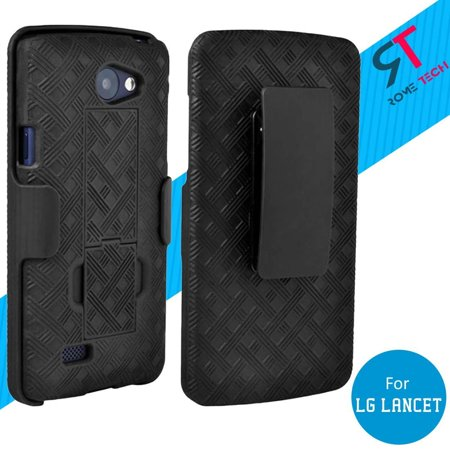 Rome Tech New Shell Holster Combo Case in Black with Kickstand For LG Lancet