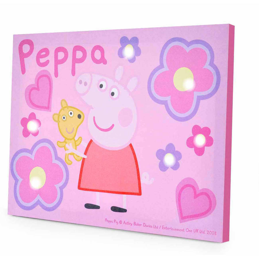 Wall Art With Lights peppa pig light up canvas wall art with bonus led lights - walmart