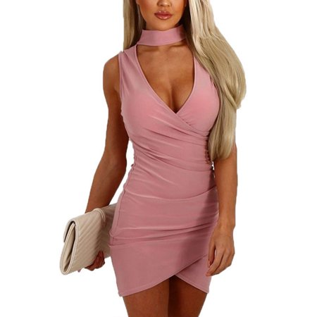 Clubwear Dress for Women Sexy Bandage Choker V Neck Bodycon Evening Party Cocktail Formal Ball Grown Short Wrap Dress Clubbing