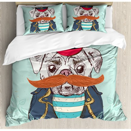 Pug Duvet Cover Set Captain Dog With Hat Mustache Jacket And Shirt