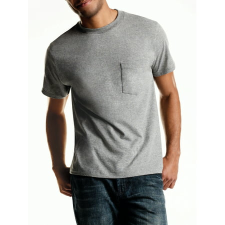 599d4af7 Hanes - Men's Tagless ComfortSoft Dyed Crewneck 4-Pack Pocket T-Shirt,  Assorted Colors - Walmart.com