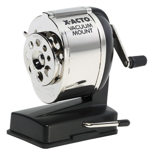 "Elmer's Vacuum Mount Manual Pencil Sharpener - Desktop - 8 Hole[s] - 5.3"" X 5.5"" X 3.8"" - Black (1072)"