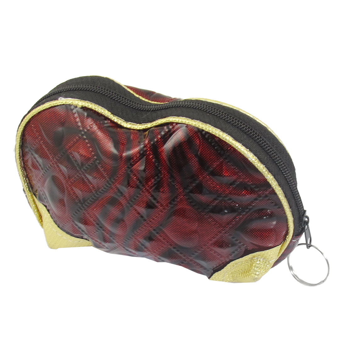 Faux Leather Heart Square Pattern Coin Purse Bag Wine Red