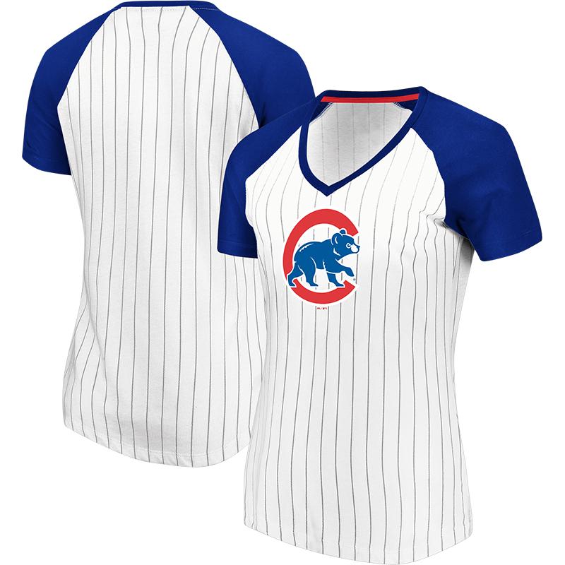 Chicago Cubs Majestic Women's Every Aspect Pinstripe Raglan V-Neck T-Shirt - White