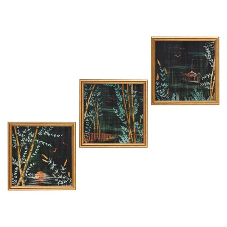 "Bamboo Lake Night II, Set of 3 23""x23"" Gold Frame by Drew Barrymore Flower Home"