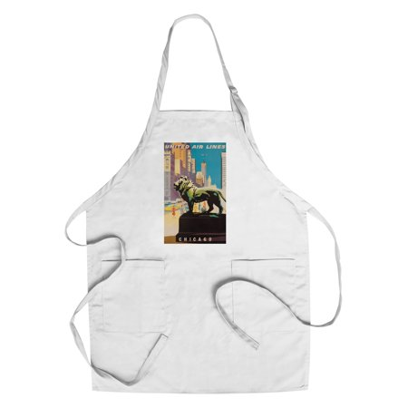 United Airlines   Chicago Vintage Poster  Artist  Binder  Usa C  1948  Cotton Polyester Chefs Apron