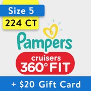 [Save $20] Size 5 Pampers Cruisers 360 Fit Diapers, 224 Total Diapers