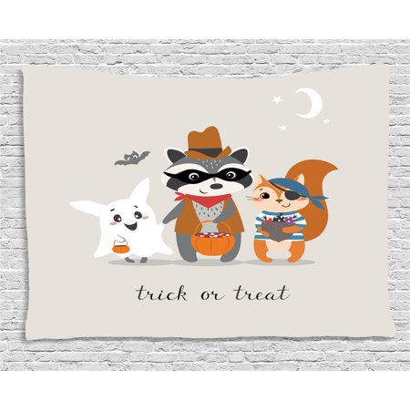 Ghost Tapestry, Trick or Treat Quote with Happy Forest Animals on Halloween Costumes Moon and Stars, Wall Hanging for Bedroom Living Room Dorm Decor, 60W X 40L Inches, Multicolor, by Ambesonne](Happy Halloween Movie Quotes)