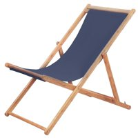 LYUMO Folding Beach Chair Fabric and Wooden Frame Blue