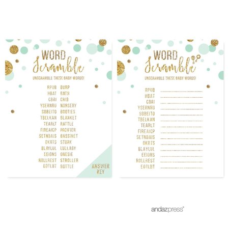 Word Scramble Game  Mint Green Gold Glitter Baby Shower Games, 20-Pack (Baby Scramble)