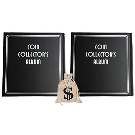 Black Coin Collector's Album 3 Inch (2 Pack) - Coin Collecting Storage Supplies (Plus Burlap Money Bag) (Coin Collecting Supplies)