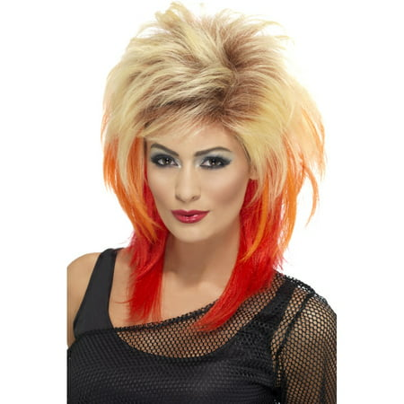 80's Mullet Costume Wig Adult: Blonde & Red One Size