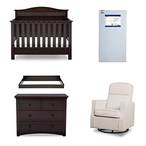 Serta Barrett 5-Piece Nursery Furniture Set (Serta Convertible Crib, 4-Drawer Dresser, Changing Top, Serta... by Delta Children