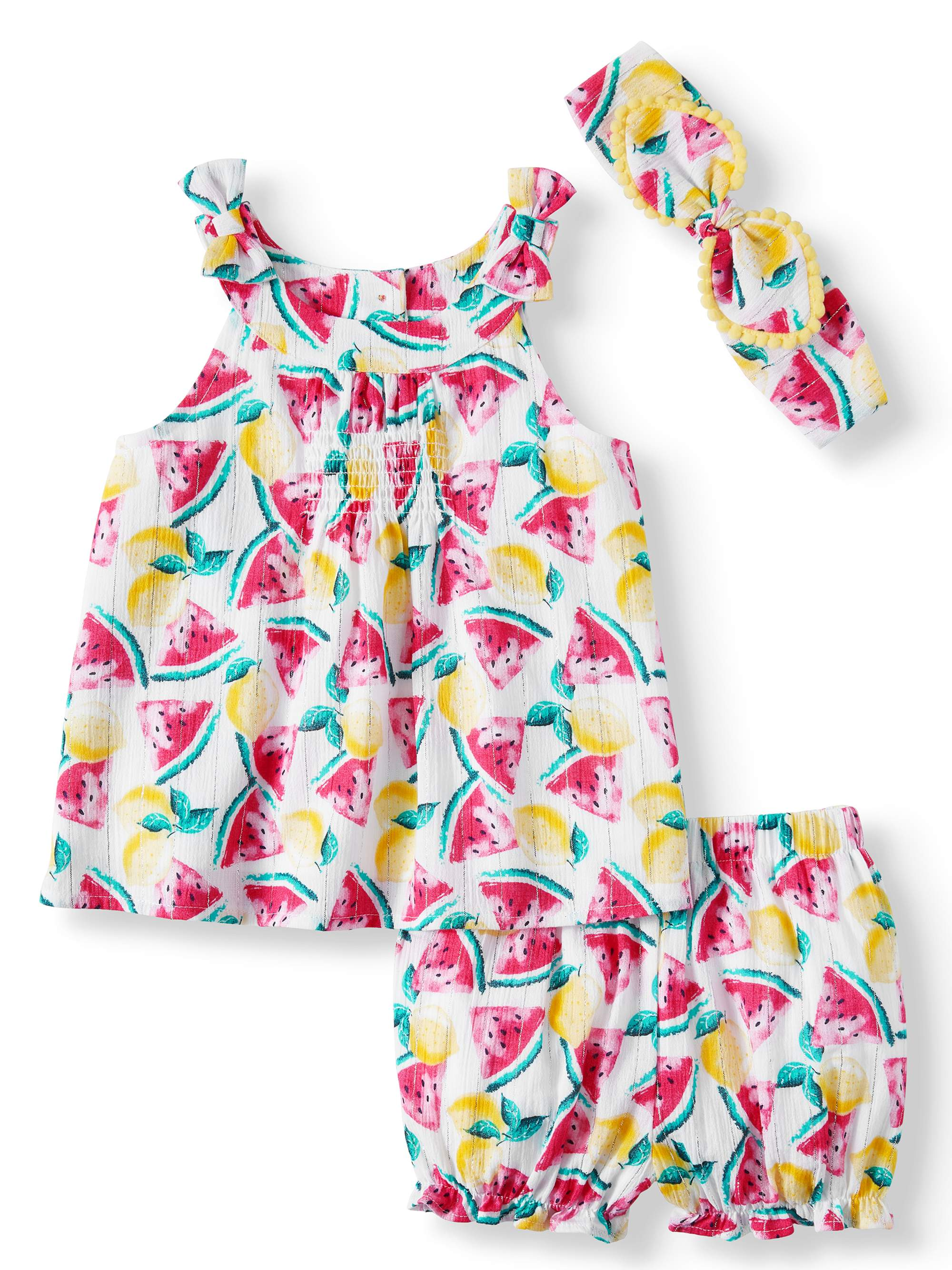 Baby Girls' Printed Woven Babydoll Top, Diaper Cover and Headband, 3-Piece Set