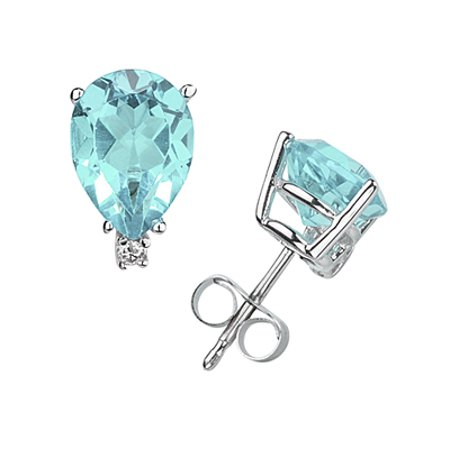 Aquamarine Pear Earrings - 7X5mm Pear Aquamarine and Diamond Stud Earrings in 14K White Gold