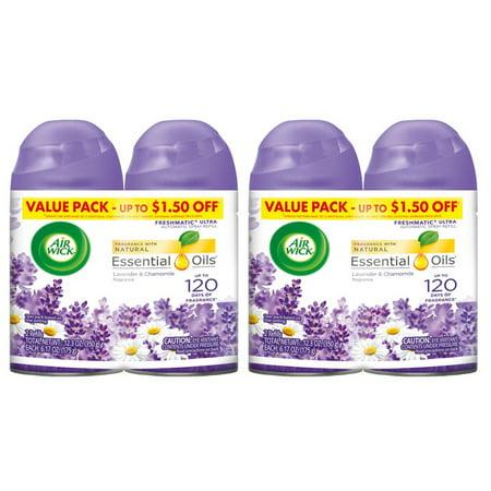(2 pack) Air Wick Freshmatic 4 Refills Automatic Spray, Lavender & Chamomile, (4X6.17oz), Air Freshener