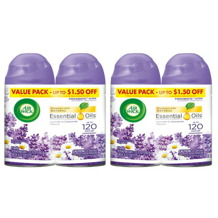 (2 pack) Air Wick Freshmatic 4 Refills Automatic Spray, Lavender & Chamomile, (4X6.17oz), Air (Air Freshener Lavender)