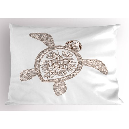Turtle Pillow Sham, Hand Drawn Floral Tortoise Vortex and Spiral Lines Built in Flappers, Decorative Standard King Size Printed Pillowcase, 36 X 20 Inches, White and Pale Caramel, by Ambesonne