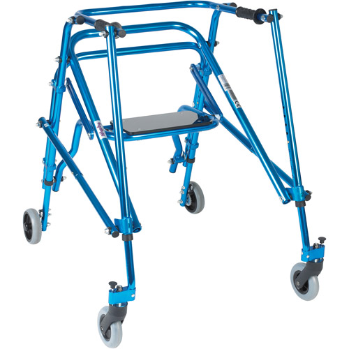 Drive Medical Nimbo Rehab Lightweight Posterior Posture Walker with Seat, Young Adult, Midnight Blue