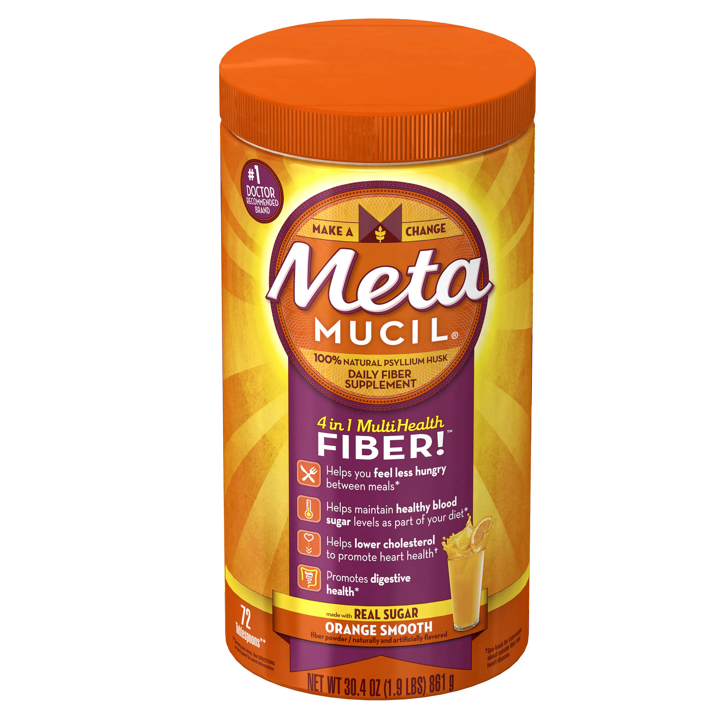 Ingredients in meta health bars - Metamucil Psyllium Fiber Supplement By Meta Orange Smooth Sugar Powder 30 4 Oz 72 Doses Walmart Com