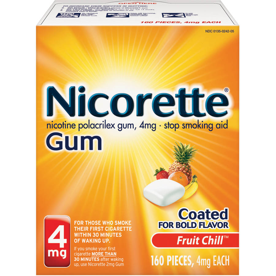 Nicorette Gum Fruit Chill Stop Smoking Aid, 4mg, 160 count