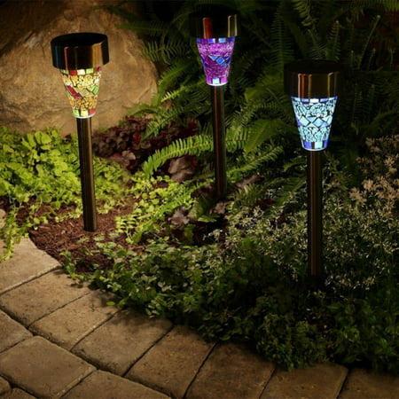 Babula 3Pcs Garden Outdoor LED Solar Power Landscape Pathway Lamp Mosaic Lights for Outdoor Path Patio Yard Decoration
