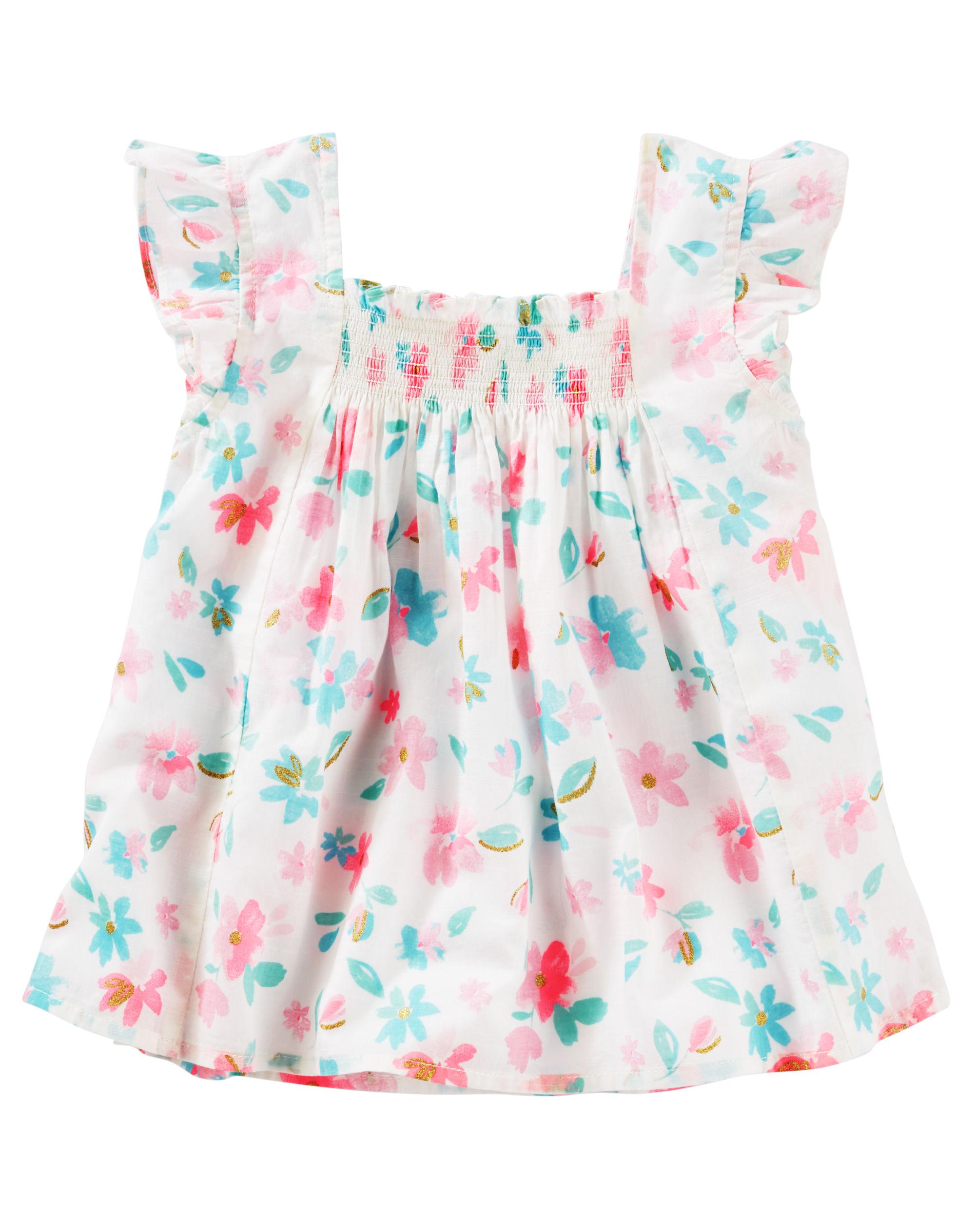 OshKosh B'gosh Big Girls' Smocked Floral Top, 7-Kids
